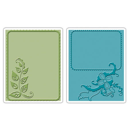 Sizzix - Textured Impressions - Stationery Collection - Embossing Folders - Elegant Vine and Flair Set