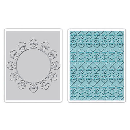 Sizzix - Textured Impressions - Stationery Collection - Embossing Folders - Folksy Circle and Fun Set