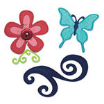 Sizzix - Sizzlits Die - Party Essentials Collection - Die Cutting Template - Medium - Butterfly, Flower and Swirl Set
