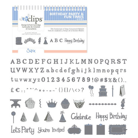 Sizzix - EClips - Electronic Shape Cutting System - Cartridge - Birthday Party and Fun Times Alphabet