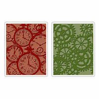 Sizzix - Tim Holtz - Texture Fades - Alterations Collection - Embossing Folders - Clock and Steampunk Set