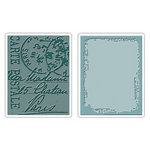 Sizzix - Tim Holtz - Texture Fades - Alterations Collection - Embossing Folders - Distressed Frame and Postal Set
