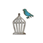 Sizzix - Tim Holtz - Movers and Shapers Die - Alterations Collection - Die Cutting Template - Mini Bird and Cage Set