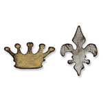 Sizzix - Tim Holtz - Alterations Collection - Movers and Shapers Die - Mini Crown and Fleur Set