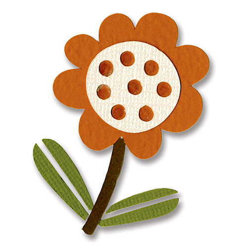 Sizzix - BasicGrey - Figgy Pudding Collection - Sizzlits Die - Small - Flower with Leaves 4