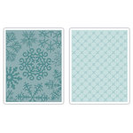 Sizzix - BasicGrey - Textured Impressions - Figgy Pudding Collection - Embossing Folders - Flower and Snowflakes Set