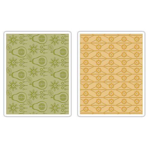 Sizzix - BasicGrey - Textured Impressions - Figgy Pudding Collection - Embossing Folders - Flowers and Pears Set