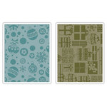 Sizzix - Basic Grey - Textured Impressions - Figgy Pudding Collection - Embossing Folders - Gifts, Ornaments and Snowflakes Set