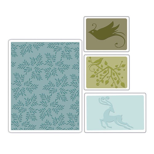 Sizzix - BasicGrey - Textured Impressions - Figgy Pudding Collection - Embossing Folders - Birds and Reindeer Set