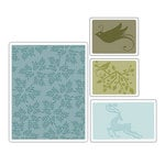Sizzix - Basic Grey - Textured Impressions - Figgy Pudding Collection - Embossing Folders - Birds and Reindeer Set