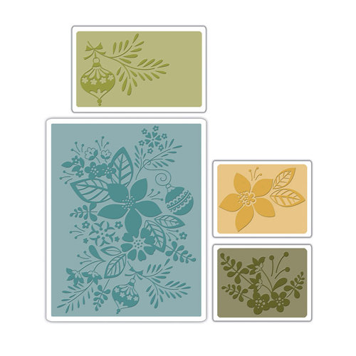 Sizzix - BasicGrey - Textured Impressions - Figgy Pudding Collection - Embossing Folders - Winter Botanicals Set