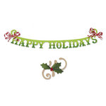 Sizzix - Sizzlits Decorative Strip Die - Phrase, Happy Holidays with Holly Flourish