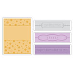 Sizzix - Textured Impressions - It's a Wrap Collection - Embossing Folders - Birthday, Congrats and Thanks Set