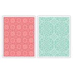 Sizzix - Textured Impressions - Decorative Accents Collection - Embossing Folders - Fleur Tile and Kaleidoscope Crescents Set