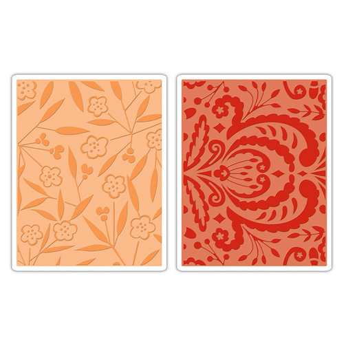 Sizzix - Textured Impressions - Decorative Accents Collection - Embossing Folders - Thickets and Swirls Set
