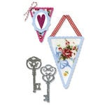 Sizzix - Vintage Valentine Collection - Sizzlits Die - Medium - Banners and Keys Set
