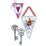 Sizzix - Sizzlits Die - Vintage Valentine Collection - Die Cutting Template - Medium - Banners and Keys Set