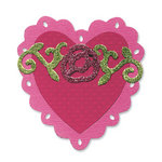 Sizzix - Bigz Die - Vintage Valentine Collection - Die Cutting Template - Heart, Scallop with Roses