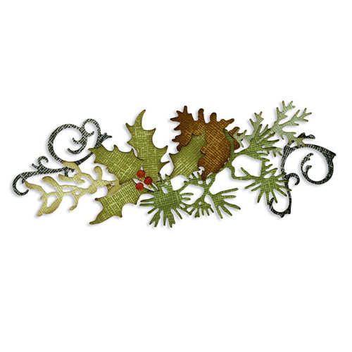 Sizzix - Tim Holtz - Sizzlits Decorative Strip Die - Alterations Collection - Die Cutting Template - Festive Greenery