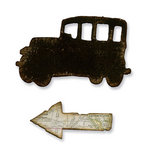 Sizzix - Tim Holtz - Alterations Collection - Movers and Shapers Die - Mini Old Jalopy and Arrow Set