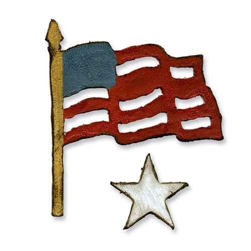 Sizzix - Tim Holtz - Alterations Collection - Movers and Shapers Die - Mini Old Glory Set