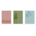 Sizzix - Tim Holtz - Texture Fades - Alterations Collection - Christmas - Embossing Folders - Seasonal Stuff Set