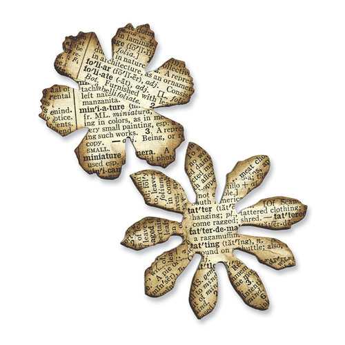 Sizzix - Tim Holtz - Alterations Collection - Movers and Shapers Die - Mini Tattered Florals Set