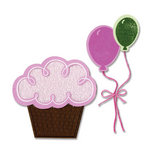 Sizzix - Framelits - Die Cutting Template and Clear Acrylic Stamp Set - Balloons and Cupcakes