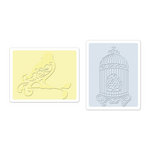 Sizzix - Textured Impressions - Embossing Folders - Bird and Birdcage Set