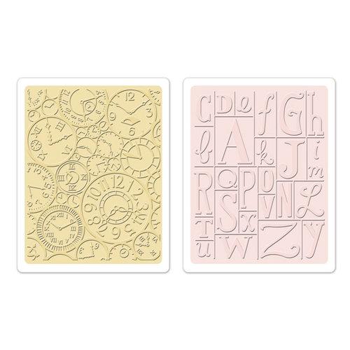 Sizzix - Textured Impressions - Embossing Folders - Clocks and Print Blocks Set
