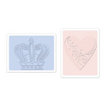 Sizzix - Textured Impressions - Embossing Folders - Crown and Heart Set