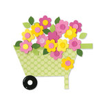 Sizzix - Bigz Die - Happy Baby Collection - Die Cutting Template - Wheelbarrow and Flowers