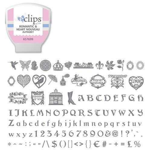 Sizzix - EClips - Electronic Shape Cutting System - Cartridge - Romantic and Heart Nouveau Alphabet