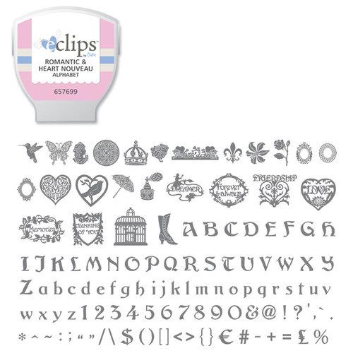 Sizzix - EClips - Electronic Shape Cutting System - Cartridge - Romantic and Heart Nouveau Alphabet