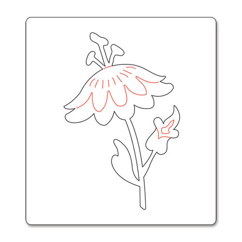 Sizzix - Basic Grey - Bigz Die - Hello Luscious Collection - Die Cutting Template - Flower with Leaves and Stem 4