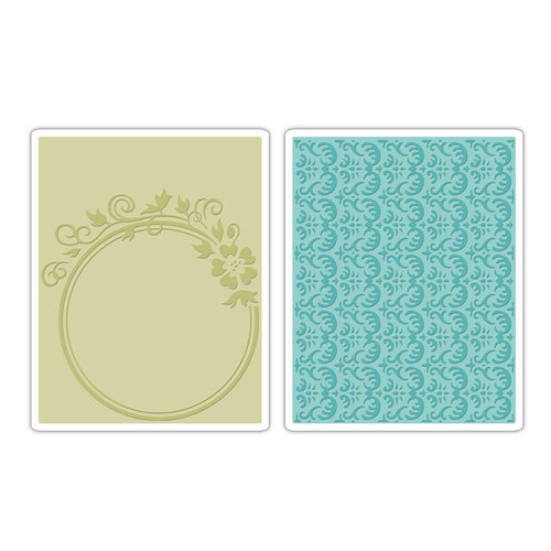 Sizzix - BasicGrey - Textured Impressions - Hello Luscious Collection - Embossing Folders - Circle Frame and Rosemary Set