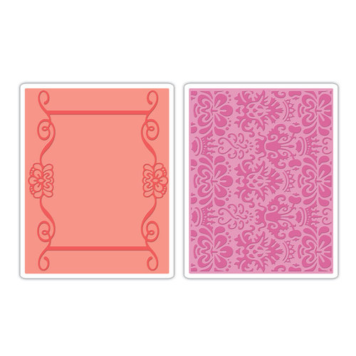 Sizzix - BasicGrey - Textured Impressions - Hello Luscious Collection - Embossing Folders - Scroll Frame and Succulent Set