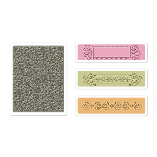 Sizzix - BasicGrey - Textured Impressions - Hello Luscious Collection - Embossing Folders - Raspberry Frame Set