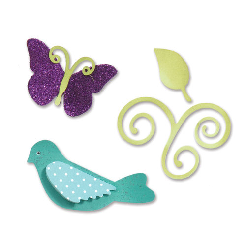 Sizzix - Sizzlits Die - Sweet Treats Collection - Die Cutting Template - Medium - Birds and Butterflies Set