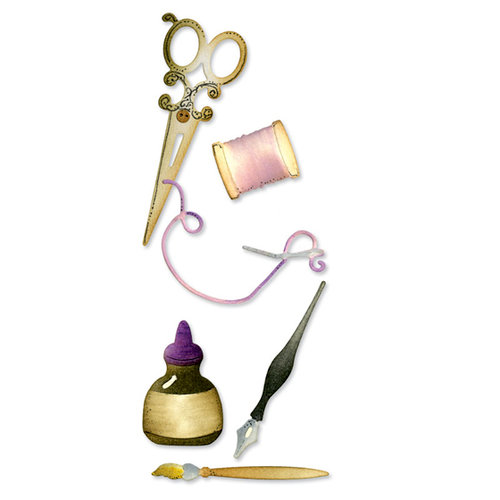 Sizzix - Vintage Cardmaking Collection - Sizzlits Die - Medium - Sewing and Writing Set