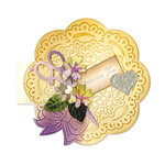 Sizzix - Bigz Die - Vintage Cardmaking Collection - Extra Long Die Cutting Template - Card, Circle Scallop and Bow