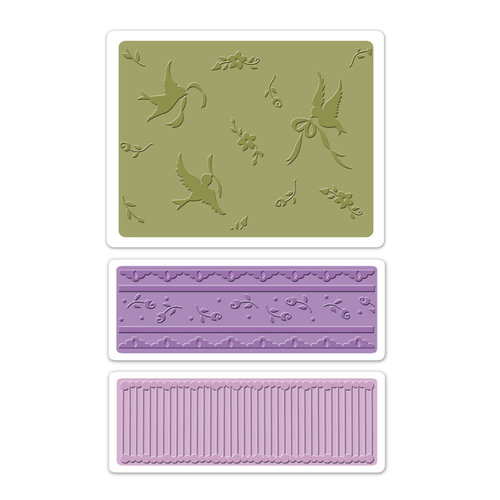 Sizzix - Textured Impressions - Vintage Cardmaking Collection - Embossing Folders - Birds and Lace Set