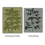 Sizzix - Stamp and Emboss - Hero Arts - Embossing Folder and Repositionable Rubber Stamp - Artistic Fern Set