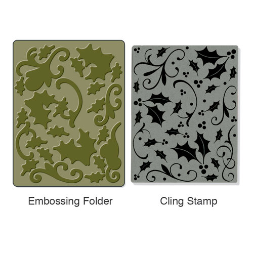 Sizzix - Stamp and Emboss - Hero Arts - Christmas - Embossing Folder and Repositionable Rubber Stamp - Holly Background Set