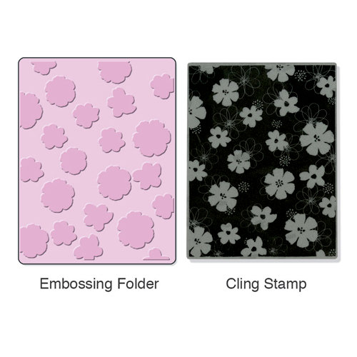 Sizzix - Stamp and Emboss - Hero Arts - Embossing Folder and Repositionable Rubber Stamp - Mixed Flowers Set