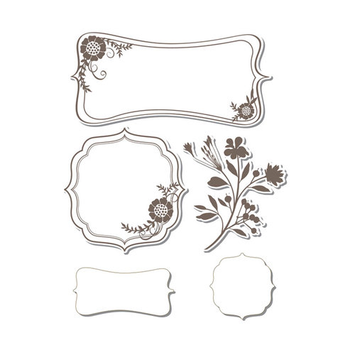 Sizzix - Hero Arts - Framelits Die and Repositionable Rubber Stamp Set - Frames with Sprigs