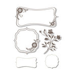 Sizzix - Hero Arts - Framelits - Die Cutting Template and Repositionable Rubber Stamp Set - Frames with Sprigs