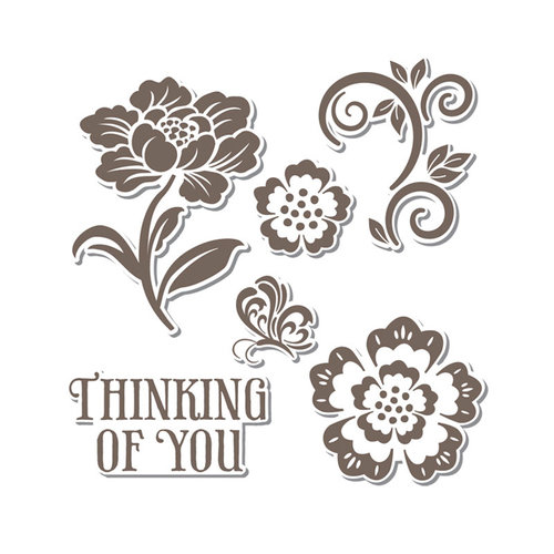 Sizzix - Hero Arts - Framelits - Die Cutting Template and Repositionable Rubber Stamp Set - Floral