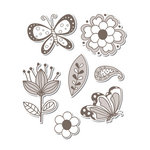 Sizzix - Hero Arts - Framelits - Die Cutting Template and Repositionable Rubber Stamp Set - Flowers and Butterflies