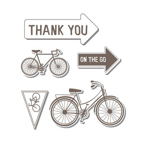 Sizzix - Hero Arts - Framelits Die and Repositionable Rubber Stamp Set - Bicycle